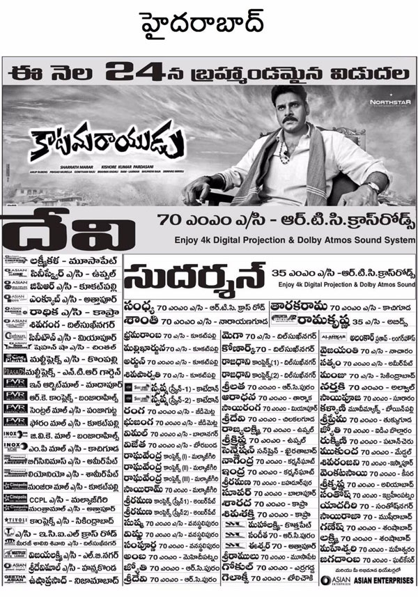 Katamarayudu Movie Hyderabad Theaters List