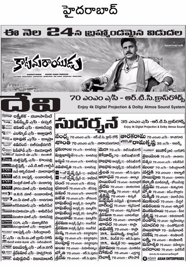 Katamarayudu Movie Hyderabad Theaters List