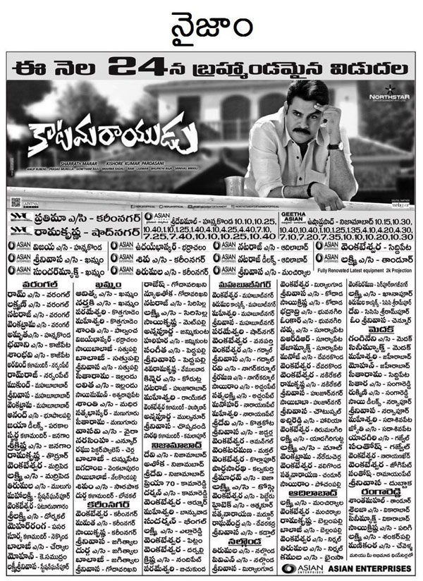 Katamarayudu Movie Nizam Theaters List
