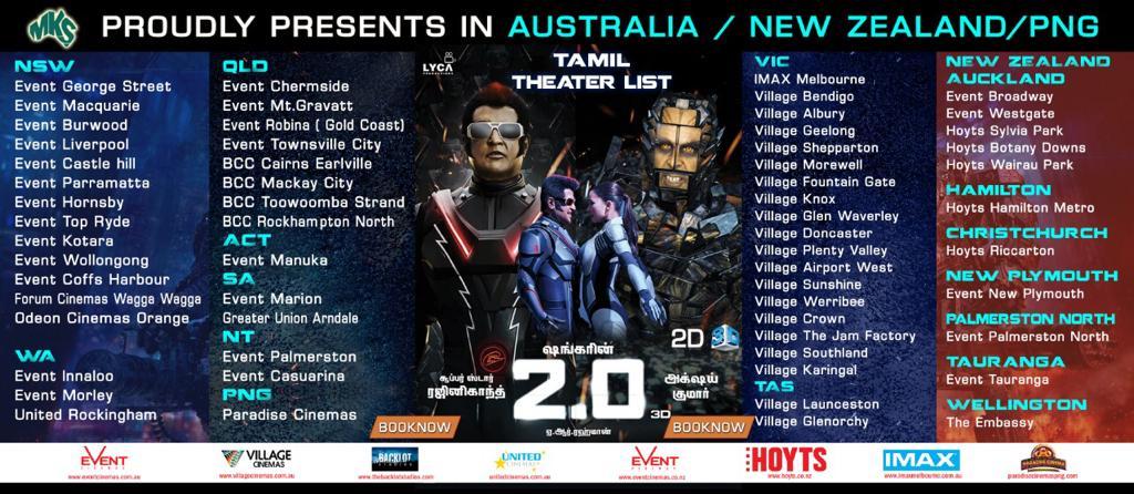 2.0 Tamil movie Australia & NZ schedules