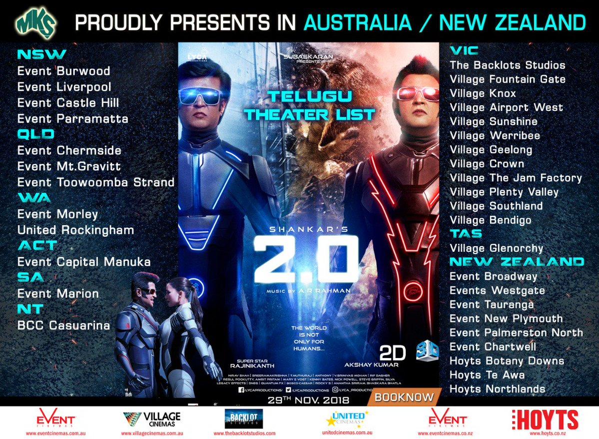 2.0 telugu movie Australia & NZ schedules