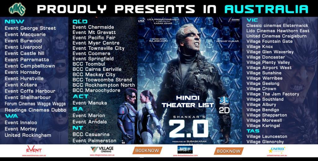 2.0 Hindi movie Australia & NZ schedules