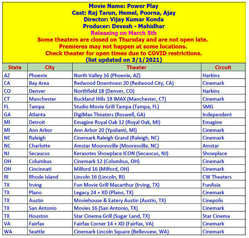 Power Play Movie USA Schedules