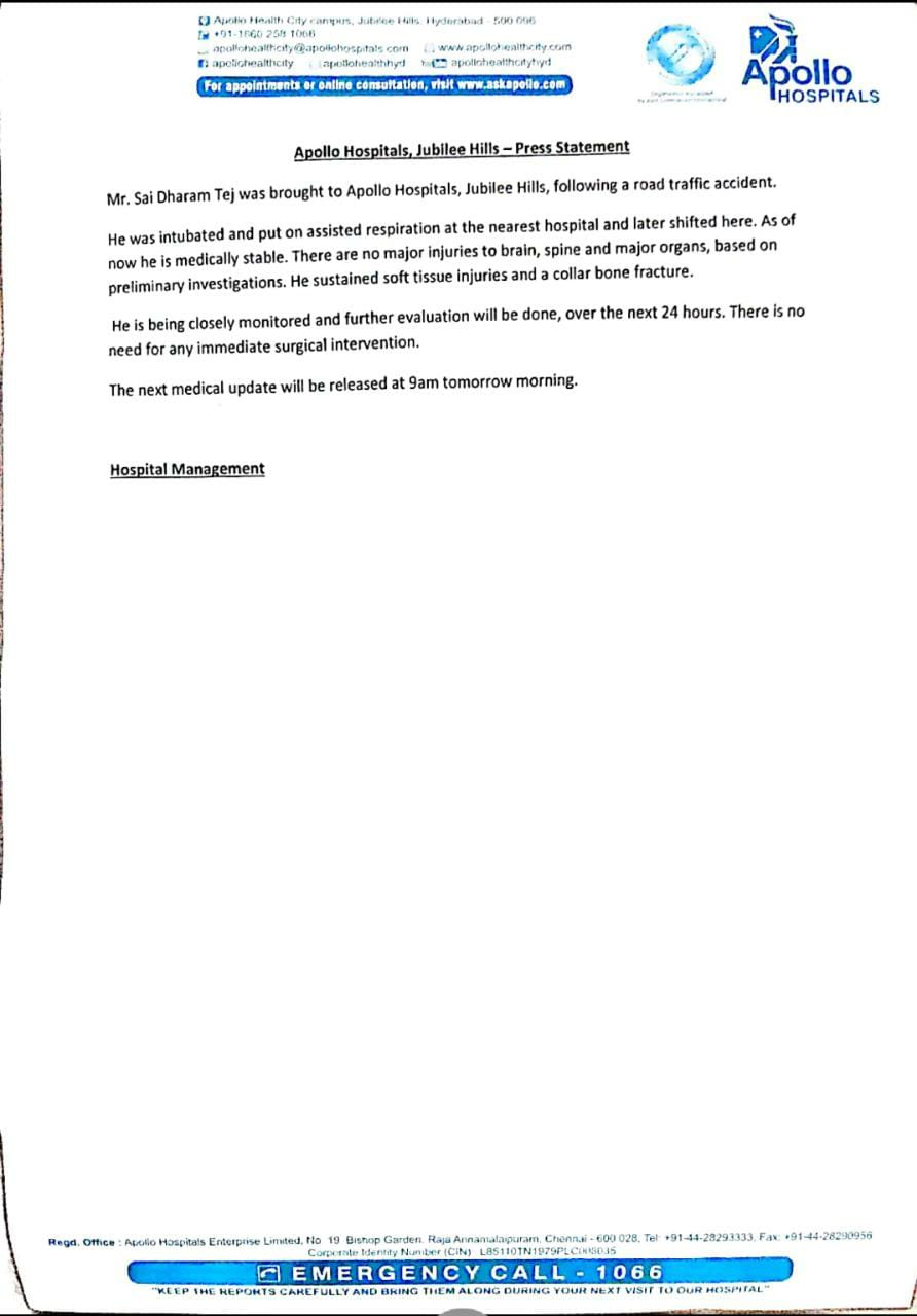 Medical bulletin about Sai Dharam Tej's health condition