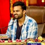 Sai Tej promotes Pratiroju Pandage on the sets of Jabardasth